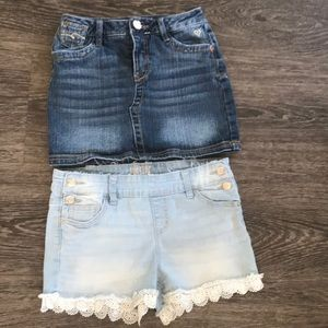 3/$30 Justice Jean shorts and skirt bundle